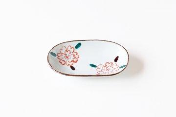 樋山真弓/楕円小皿/色桜絵