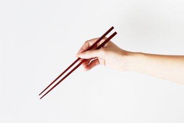 秋田の極細箸/赤(朱面)