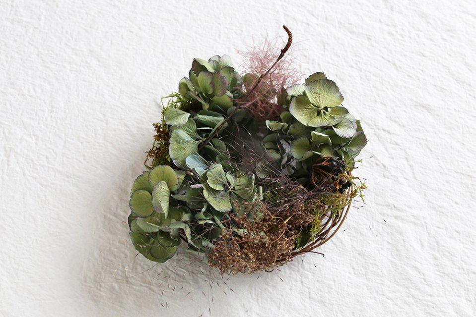 【数量限定】増田由希子/鳥の巣リース(秋色紫陽花)