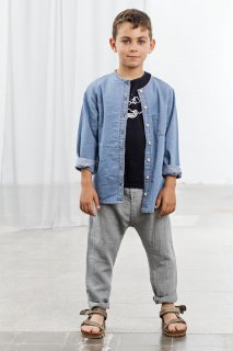 <img class='new_mark_img1' src='https://img.shop-pro.jp/img/new/icons34.gif' style='border:none;display:inline;margin:0px;padding:0px;width:auto;' />【50%OFF】tocoto vintage「Light denim crew neck shirt (Denim)」2019-SS