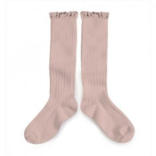 【LAST ONE ONLY 18/20】Collegien「Joséphine Lace Trim Knee-Highs - Vieux Rose」