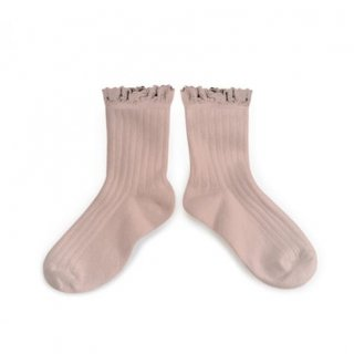 【LAST ONE ONLY 18/20】Collegien「Lili Lace Trim Ankle Socks - Vieux Rose」
