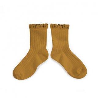 Collegien「Lili Lace Trim Ankle Socks - Moutarde de Dijon」