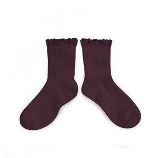 Collegien「Lili Lace Trim Ankle Socks - Aubergine」