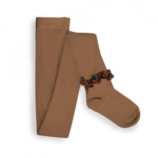 【LAST ONE ONLY 5-6y】Collegien「Clémence Liberty Ruffle Ribbed Tights - Caramel」