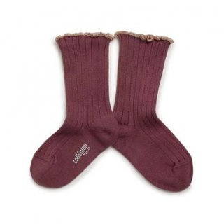 <img class='new_mark_img1' src='https://img.shop-pro.jp/img/new/icons56.gif' style='border:none;display:inline;margin:0px;padding:0px;width:auto;' />Collegien「Delphine Lettuce Trim Socks - Châtaigne」