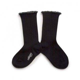 Collegien「Delphine Lettuce Trim Socks - Noir Charbon」