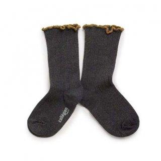 Collegien「Delphine Lettuce Trim Socks - Poivre」