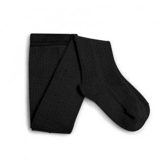 【LAST ONE ONLY 5-6y】Collegien「Angélique Pointelle Merino Wool Tights - Noir de Charbon」