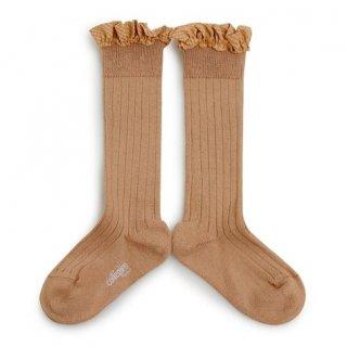 Collegien「Apolline Gingham Ruffle Knee High Socks - Petite Taupe」