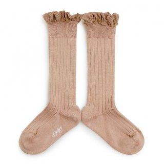 Collegien「Apolline Gingham Ruffle Knee High Socks - Vieux Rose」