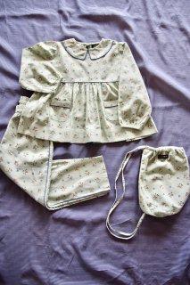 <img class='new_mark_img1' src='https://img.shop-pro.jp/img/new/icons23.gif' style='border:none;display:inline;margin:0px;padding:0px;width:auto;' />【30%OFF】BONJOUR DIARY 「Girl pyjama set + bag (Mint flower print)」2021-SS