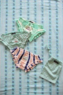<img class='new_mark_img1' src='https://img.shop-pro.jp/img/new/icons14.gif' style='border:none;display:inline;margin:0px;padding:0px;width:auto;' />BONJOUR DIARY 「3 Panties set with pouch (2 check & 1 stripe)」2021-SS
