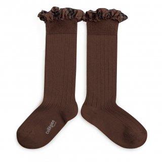 <img class='new_mark_img1' src='https://img.shop-pro.jp/img/new/icons14.gif' style='border:none;display:inline;margin:0px;padding:0px;width:auto;' />Collegien「Arabelle Tartan Ruffle Ribbed Knee-high Socks - Chocolat au lait」