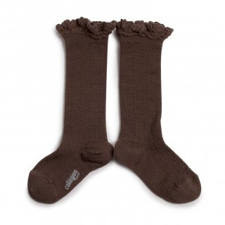 <img class='new_mark_img1' src='https://img.shop-pro.jp/img/new/icons14.gif' style='border:none;display:inline;margin:0px;padding:0px;width:auto;' />Collegien「Adeline Pointelle Merino Wool Knee-high Socks with Merino Lace Trim - Chocolat au lait」