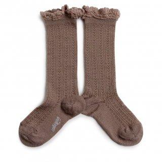 <img class='new_mark_img1' src='https://img.shop-pro.jp/img/new/icons14.gif' style='border:none;display:inline;margin:0px;padding:0px;width:auto;' />Collegien「Adeline Pointelle Merino Wool Knee-high Socks with Merino Lace Trim - Praline de Lyon」
