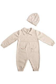 <img class='new_mark_img1' src='https://img.shop-pro.jp/img/new/icons14.gif' style='border:none;display:inline;margin:0px;padding:0px;width:auto;' />minimom「Clover Knit Baby Romper Set (Cream)」2021-AW