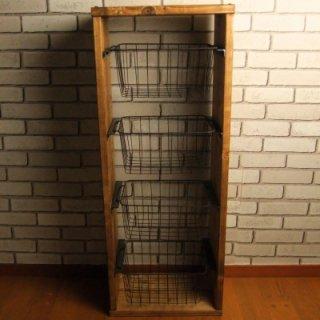 無垢材 ワイヤーバスケット シェルフ 4段 カゴ付 送料無料