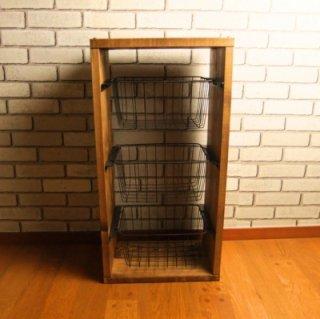 無垢材 ワイヤーバスケット シェルフ 3段 カゴ付 送料無料