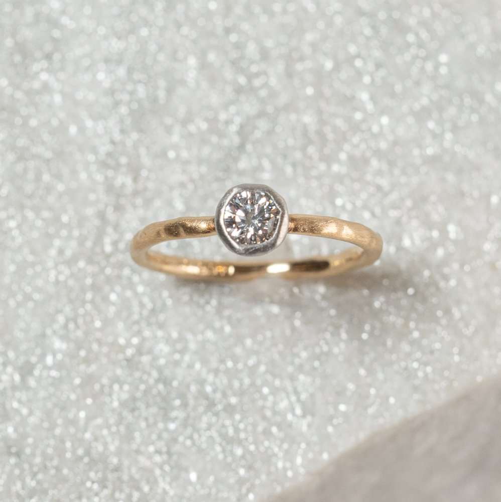 N°7  K18arm classy combination ring 0.3ct