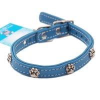 犬用 首輪 革 レザー カラー Rockin' Doggy ロッキンドギー ブルー&パウ 海外直輸入