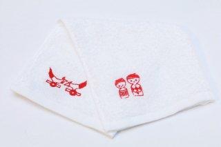 刺繍タオル(こけし 赤)