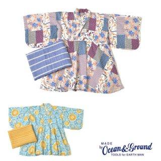 【20%OFF】《OCEAN&GROUND オーシャンアンドグラウンド》 キッズ 浴衣ワンピース FLOWER  浴衣2点セット90 100 110 120 130