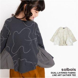 solbois ソルボワ  接結天竺長袖 ギャザーTシャツ   130 140 150cm 【日本製】