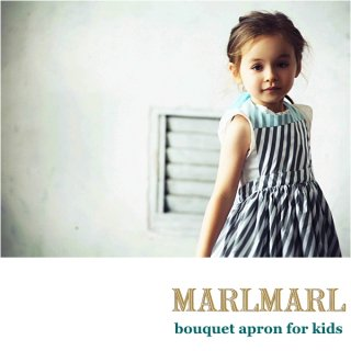 【MARLMARL/マールマール】bouquet apron/slash stripe/white flower  kids