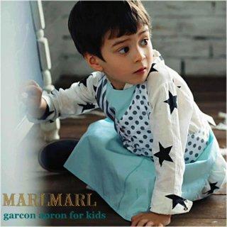 【MARLMARL/マールマール】garcon apron/slash stripe/yelloe flower kids