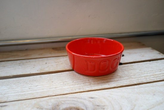 BAUER POTTERY DOGBOWL・レッド