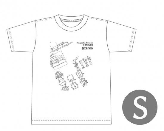 長岡鉄男ファンに捧げるオリジナルTシャツ(ホワイト)−スワン設計図(S)