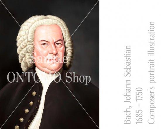 作曲家の肖像画イラスト/J.S.バッハ