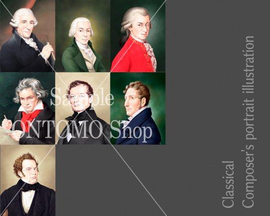 作曲家の肖像画イラスト/古典派セット