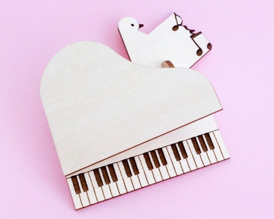 音楽と鳥のオーナメント・キット(トイピアノ)