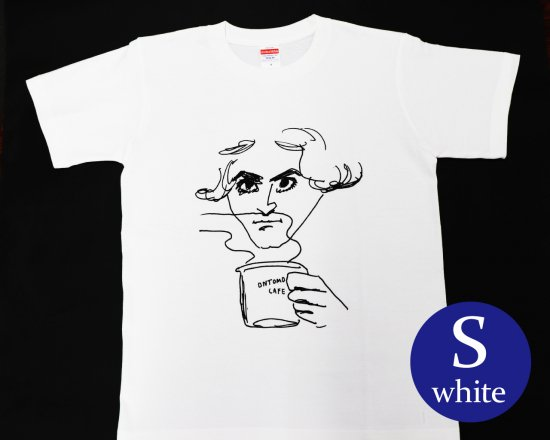 作曲家のオマージュTシャツ(ホワイト) — ベートーヴェンとコーヒー 【Sサイズ】