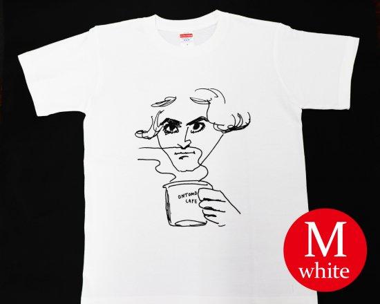作曲家のオマージュTシャツ(ホワイト) — ベートーヴェンとコーヒー 【Mサイズ】