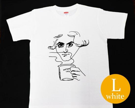作曲家のオマージュTシャツ(ホワイト) — ベートーヴェンとコーヒー 【Lサイズ】