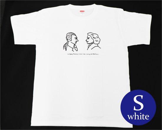 作曲家のオマージュTシャツ(ホワイト) — ベートーヴェンとモーツァルト 【Sサイズ】