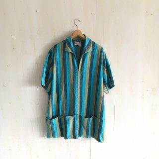 60's  zip up open collar shirts