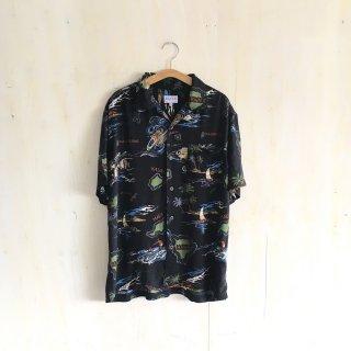 90s open collar  rayon shirt