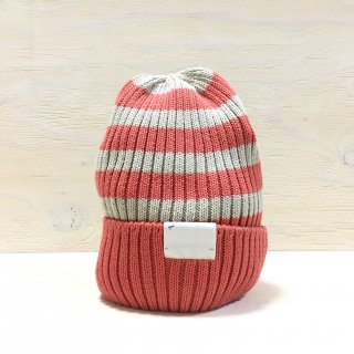 ' c-plus headwear '  CUFF KNIT CAP /  RANDOM BORDER<br>(Pink x l.gray)
