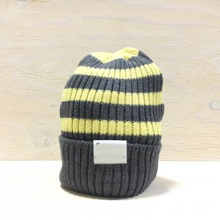 ' c-plus headwear '  CUFF KNIT CAP /  RANDOM BORDER<br>(Gray x Yellow)