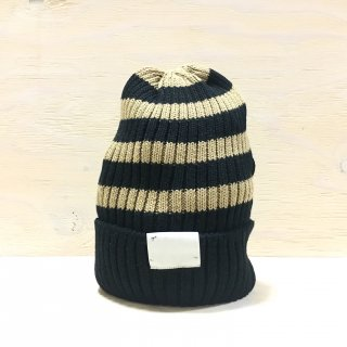 ' c-plus headwear '  CUFF KNIT CAP /  RANDOM BORDER<br>(Black x Beige)