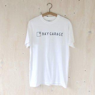 BAY GARAGE Printed T <br>New Logo<br> White x Black Printed