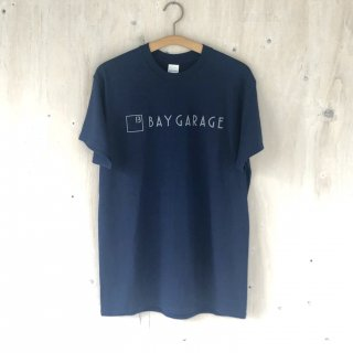 BAY GARAGE Printed T <br>New Logo<br> Navy x Gray Printed