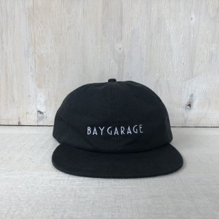 BAY GARAGE Six Panel Cap<br> Washed Twill <br>  Black