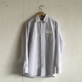BAYGARAGE Work Shirts<br>Long Sleeve <br> White x Chacoal