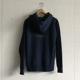 BAYGARAGE  Printed Zip Hoodie <br>New Logo<br>Navy x White Printed