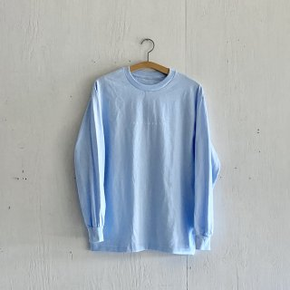 BAYGARAGE Long Sleeve T Shirt<br>New Logo<br> Powder Blue x White Printed